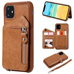 Classic Luxury Buckle Zipper Anti-fall Leather Phone Back Cover for iPhone 11 (6.1 inch) - Brown
