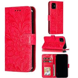 Intricate Embossing Lace Jasmine Flower Leather Wallet Case for iPhone 11 (6.1 inch) - Red