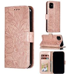 Intricate Embossing Lace Jasmine Flower Leather Wallet Case for iPhone 11 (6.1 inch) - Rose Gold