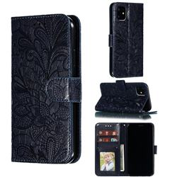 Intricate Embossing Lace Jasmine Flower Leather Wallet Case for iPhone 11 (6.1 inch) - Dark Blue