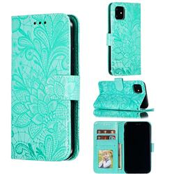 Intricate Embossing Lace Jasmine Flower Leather Wallet Case for iPhone 11 (6.1 inch) - Green