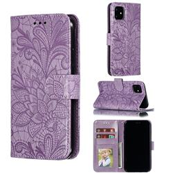 Intricate Embossing Lace Jasmine Flower Leather Wallet Case for iPhone 11 (6.1 inch) - Purple