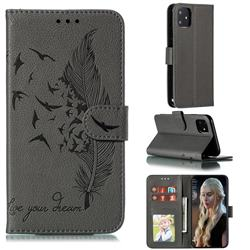 Intricate Embossing Lychee Feather Bird Leather Wallet Case for iPhone 11 (6.1 inch) - Gray