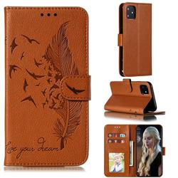 Intricate Embossing Lychee Feather Bird Leather Wallet Case for iPhone 11 (6.1 inch) - Brown
