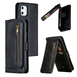 Multifunction 9 Cards Leather Zipper Wallet Phone Case for iPhone 11 (6.1 inch) - Black