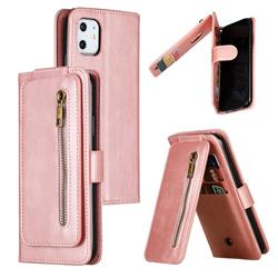 Multifunction 9 Cards Leather Zipper Wallet Phone Case for iPhone 11 (6.1 inch) - Rose Gold