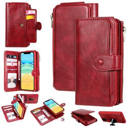 Retro Multifunction Zipper Magnetic Separable Leather Phone Case Cover for iPhone 11 (6.1 inch) - Red