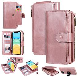 Retro Multifunction Zipper Magnetic Separable Leather Phone Case Cover for iPhone 11 (6.1 inch) - Rose Gold