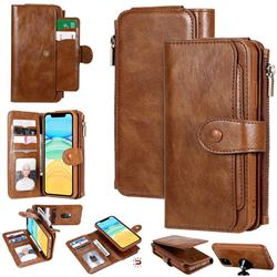 Retro Multifunction Zipper Magnetic Separable Leather Phone Case Cover for iPhone 11 (6.1 inch) - Brown