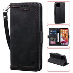 Luxury Retro Stitching Leather Wallet Phone Case for iPhone 11 (6.1 inch) - Black