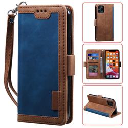 Luxury Retro Stitching Leather Wallet Phone Case for iPhone 11 (6.1 inch) - Dark Blue