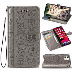 Embossing Dog Paw Kitten and Puppy Leather Wallet Case for iPhone 11 (6.1 inch) - Gray
