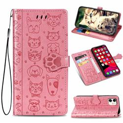 Embossing Dog Paw Kitten and Puppy Leather Wallet Case for iPhone 11 (6.1 inch) - Pink