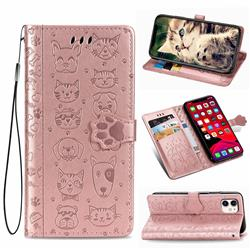 Embossing Dog Paw Kitten and Puppy Leather Wallet Case for iPhone 11 (6.1 inch) - Rose Gold