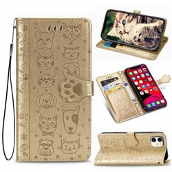 Embossing Dog Paw Kitten and Puppy Leather Wallet Case for iPhone 11 (6.1 inch) - Champagne Gold