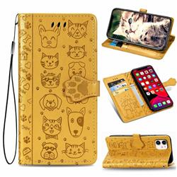 Embossing Dog Paw Kitten and Puppy Leather Wallet Case for iPhone 11 (6.1 inch) - Yellow