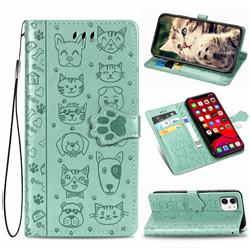 Embossing Dog Paw Kitten and Puppy Leather Wallet Case for iPhone 11 (6.1 inch) - Green