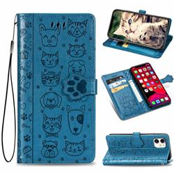 Embossing Dog Paw Kitten and Puppy Leather Wallet Case for iPhone 11 (6.1 inch) - Blue