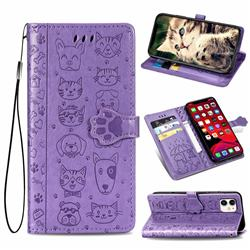 Embossing Dog Paw Kitten and Puppy Leather Wallet Case for iPhone 11 (6.1 inch) - Purple