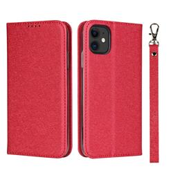 Ultra Slim Magnetic Automatic Suction Silk Lanyard Leather Flip Cover for iPhone 11 (6.1 inch) - Red
