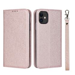 Ultra Slim Magnetic Automatic Suction Silk Lanyard Leather Flip Cover for iPhone 11 (6.1 inch) - Rose Gold