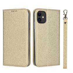 Ultra Slim Magnetic Automatic Suction Silk Lanyard Leather Flip Cover for iPhone 11 (6.1 inch) - Golden