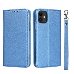 Ultra Slim Magnetic Automatic Suction Silk Lanyard Leather Flip Cover for iPhone 11 (6.1 inch) - Sky Blue