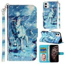 Snow Wolf 3D Leather Phone Holster Wallet Case for iPhone 11 (6.1 inch)