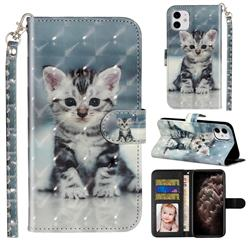 Kitten Cat 3D Leather Phone Holster Wallet Case for iPhone 11 (6.1 inch)
