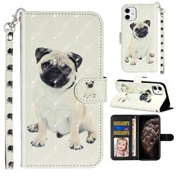 Pug Dog 3D Leather Phone Holster Wallet Case for iPhone 11 (6.1 inch)