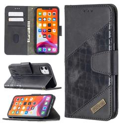 BinfenColor BF04 Color Block Stitching Crocodile Leather Case Cover for iPhone 11 (6.1 inch) - Black
