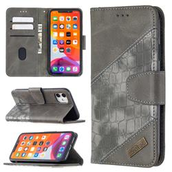 BinfenColor BF04 Color Block Stitching Crocodile Leather Case Cover for iPhone 11 (6.1 inch) - Gray