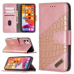 BinfenColor BF04 Color Block Stitching Crocodile Leather Case Cover for iPhone 11 (6.1 inch) - Rose Gold