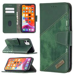 BinfenColor BF04 Color Block Stitching Crocodile Leather Case Cover for iPhone 11 (6.1 inch) - Green
