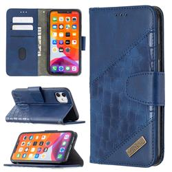 BinfenColor BF04 Color Block Stitching Crocodile Leather Case Cover for iPhone 11 (6.1 inch) - Blue