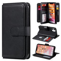 Multi-function Ten Card Slots and Photo Frame PU Leather Wallet Phone Case Cover for iPhone 11 (6.1 inch) - Black