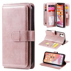 Multi-function Ten Card Slots and Photo Frame PU Leather Wallet Phone Case Cover for iPhone 11 (6.1 inch) - Rose Gold