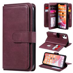 Multi-function Ten Card Slots and Photo Frame PU Leather Wallet Phone Case Cover for iPhone 11 (6.1 inch) - Claret