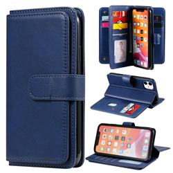 Multi-function Ten Card Slots and Photo Frame PU Leather Wallet Phone Case Cover for iPhone 11 (6.1 inch) - Dark Blue