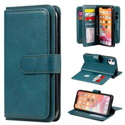 Multi-function Ten Card Slots and Photo Frame PU Leather Wallet Phone Case Cover for iPhone 11 (6.1 inch) - Dark Green