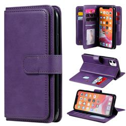 Multi-function Ten Card Slots and Photo Frame PU Leather Wallet Phone Case Cover for iPhone 11 (6.1 inch) - Violet