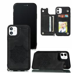Luxury Mandala Multi-function Magnetic Card Slots Stand Leather Back Cover for iPhone 11 (6.1 inch) - Black