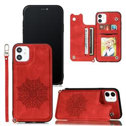 Luxury Mandala Multi-function Magnetic Card Slots Stand Leather Back Cover for iPhone 11 (6.1 inch) - Red