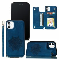 Luxury Mandala Multi-function Magnetic Card Slots Stand Leather Back Cover for iPhone 11 (6.1 inch) - Blue