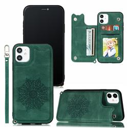 Luxury Mandala Multi-function Magnetic Card Slots Stand Leather Back Cover for iPhone 11 (6.1 inch) - Green
