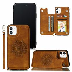 Luxury Mandala Multi-function Magnetic Card Slots Stand Leather Back Cover for iPhone 11 (6.1 inch) - Brown