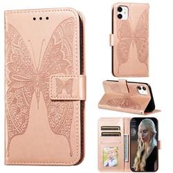 Intricate Embossing Vivid Butterfly Leather Wallet Case for iPhone 11 (6.1 inch) - Rose Gold