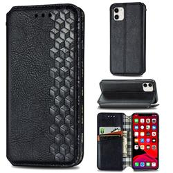 Ultra Slim Fashion Business Card Magnetic Automatic Suction Leather Flip Cover for iPhone 11 (6.1 inch) - Black