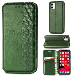 Ultra Slim Fashion Business Card Magnetic Automatic Suction Leather Flip Cover for iPhone 11 (6.1 inch) - Green