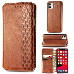 Ultra Slim Fashion Business Card Magnetic Automatic Suction Leather Flip Cover for iPhone 11 (6.1 inch) - Brown